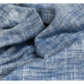 Blue and white double gauze linen and cotton