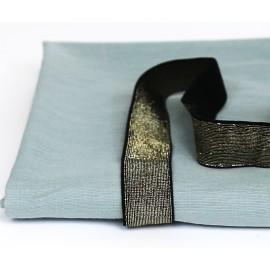 Ruban élastique noir et or 25 mm