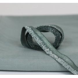 Biais élastique vert de gris et argent