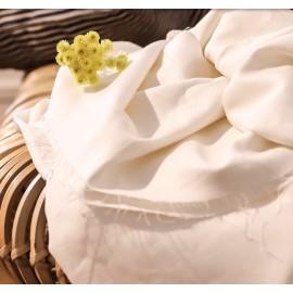 White viscose linen twill fabric