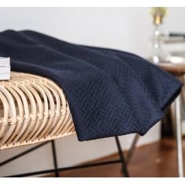 Navy blue textured wool