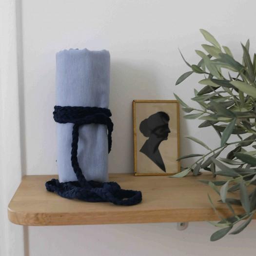 Cordon Tresse Plate Bleu Cygne