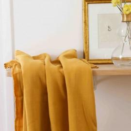 Yellow viscose linen fabric