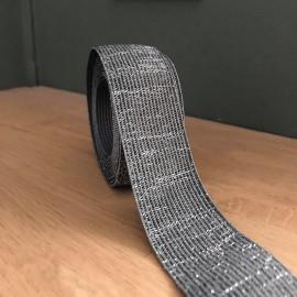 Elastique vert de gris lamé argent 30 mm