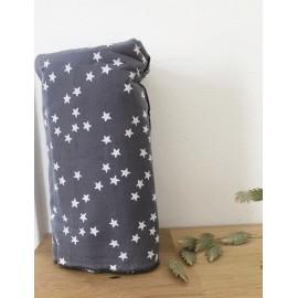 Coupon 0,70 m gris étoiles blanches