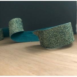 Elastique vert lurex or 30 mm