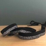 Biais élastique noir et argent