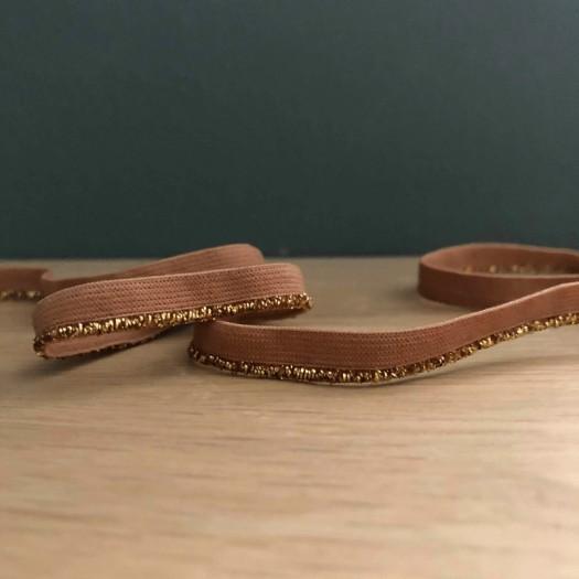Passepoil élastique lurex caramel et or