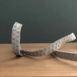Ruban élastique gris papillons or 9 mm