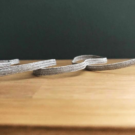 Ruban élastique côtelé argent 5 mm - France Duval Stalla