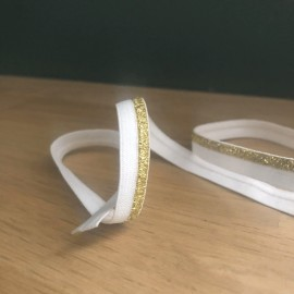 Ruban élastique lurex blanc et or