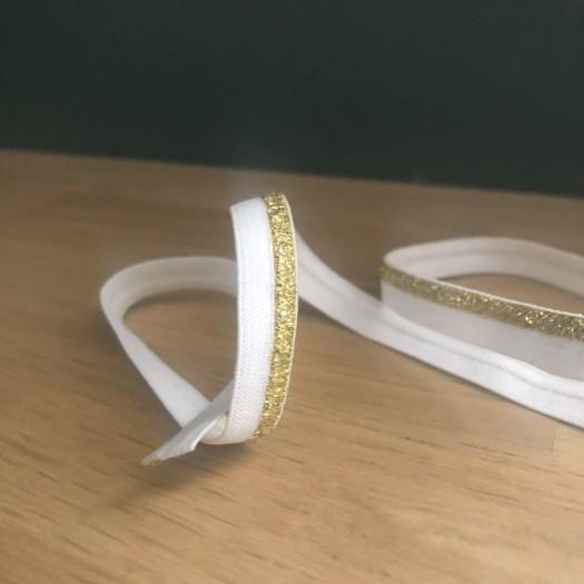Passepoil plat élastique lurex blanc et or