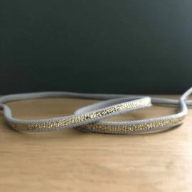 Cordon élastique gris et lurex or