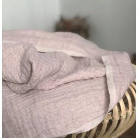 Tissu en lin lavé rose texturé losange - France Duval Stalla
