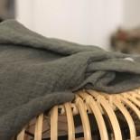 Tissu en lin lavé kaki texturé losange - France Duval Stalla