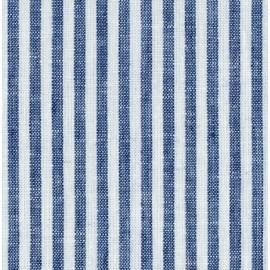 Tissu coton / lin rayures bleu et blanc