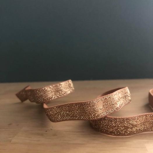Ruban élastique lurex caramel et or