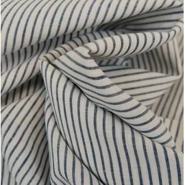 Tissu coton et lin rayures bleu et blanc