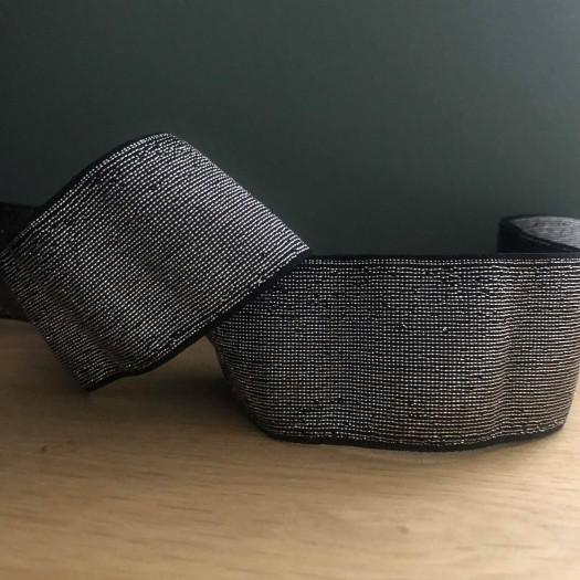 Elastique noir et lurex argent en 40 mm