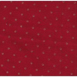 Coupon lainage rouge pois dorés 0,50 cm