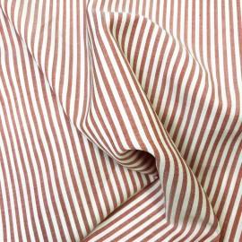 Tissu coton à rayures - écru et rouge