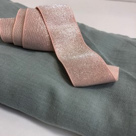 Elastique rose et lurex argent en 40 mm