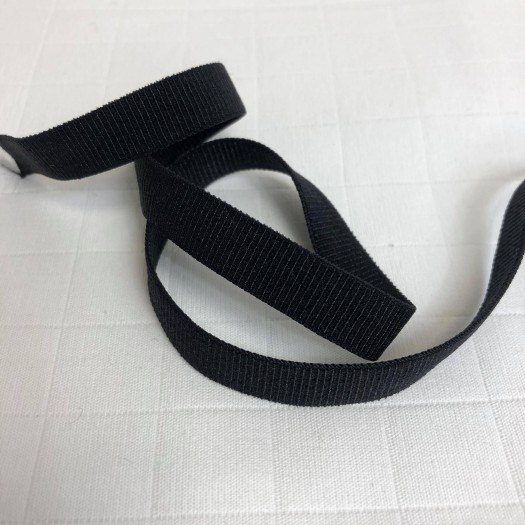 Ruban élastique noir côtelé 10 mm