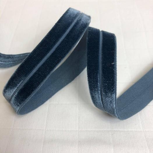 Biais élastique velours bleu orageux