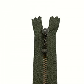 Fermeture à glissiere - Kaki et bronze