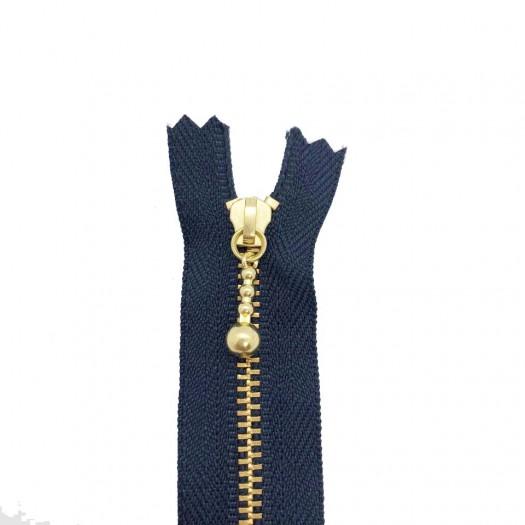 Fermeture à glissière - bleue marine et or