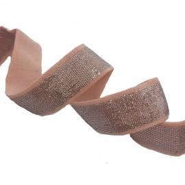 Elastique rose et lurex argent en 20 mm