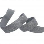 Biais élastique gris et argent