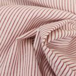 Tissu lin et coton rayures rouge et blanc