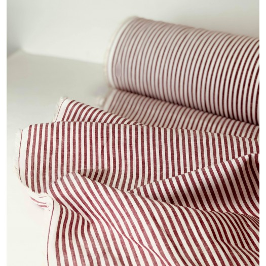Tissu coton et lin rayures rouge et blanc