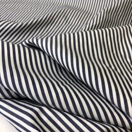 Tissu coton très doux à rayures - bleu et blanc